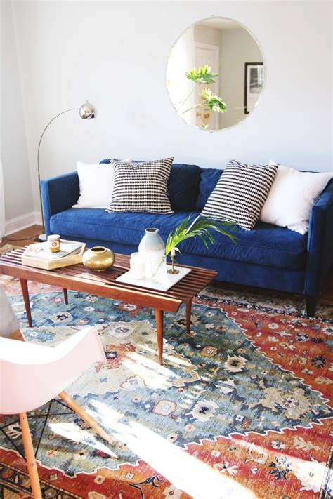 Living Room Blue Sofa by An Ode To Blue Sofas Mid Century Megan