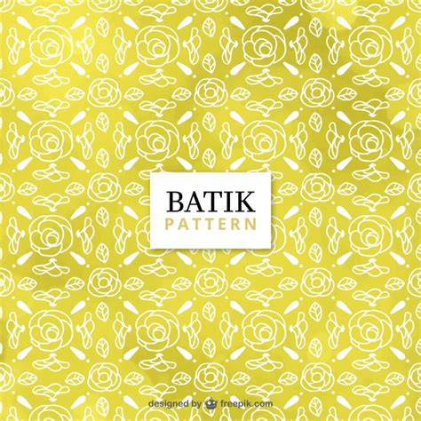 batik pattern free download yellow batik pattern with sketches of roses vector free