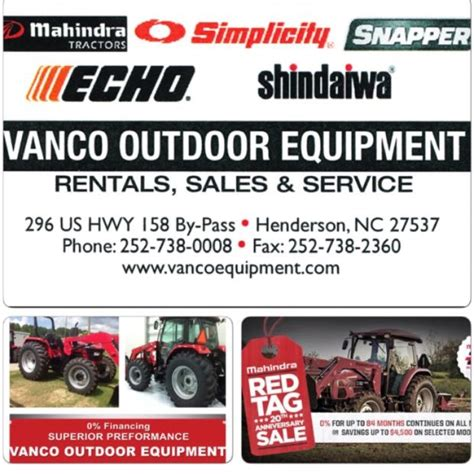 vanco outdoor equipment henderson carolina nc