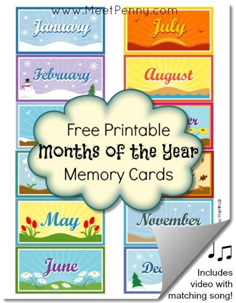 new month card free printable months of the year memory cards posts grace o malley and