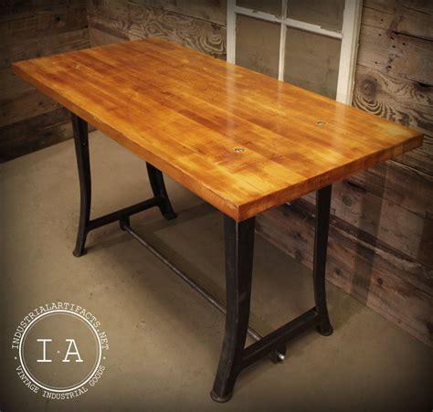 butcher block desk legs vintage industrial work bench table desk cast iron machine