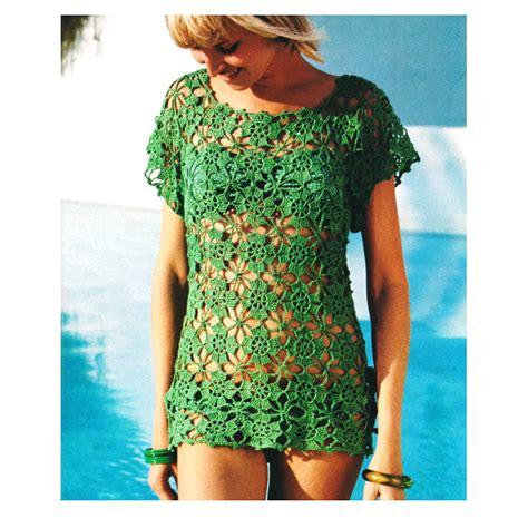 crochet pattern cover up vintage 1970s crochet pattern lacy flower beach by