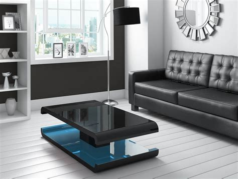 black led table l high gloss black coffee table with led lighting