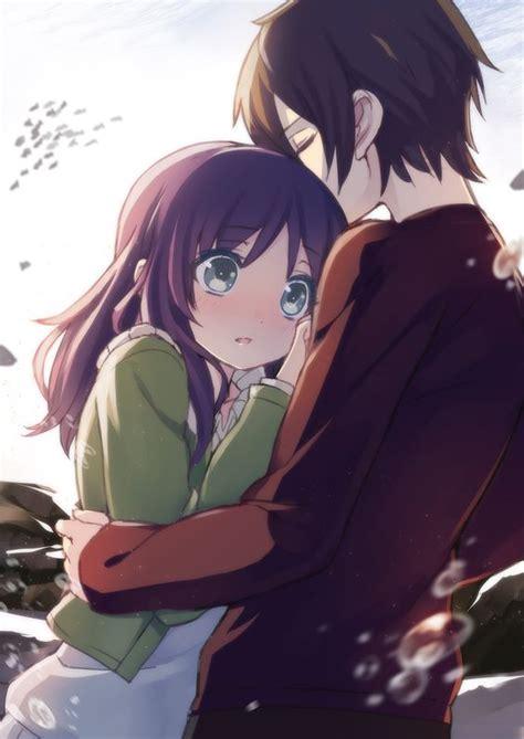 anime couple hugging anime art anime couple romantic love sweet