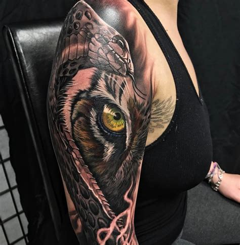 snake arm tattoo designs snake tiger fusion sleeve best design ideas