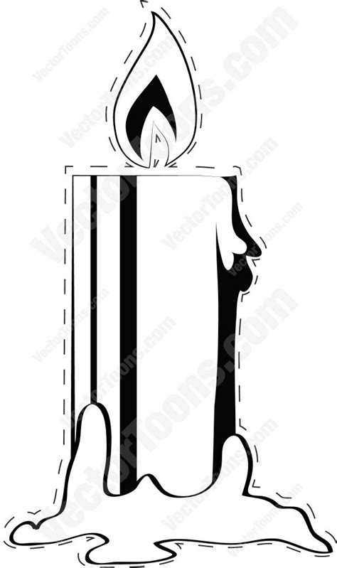 Candle Outline by Burning Candle With Dotted Outline Vector Clip