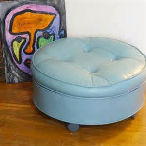 Small Ottoman On Wheels Vintage Pillow Top Ottoman Tufted From