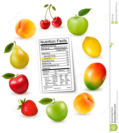 fruit 2 0 nutrition facts fresh fruit with a nutrition facts label stock vector