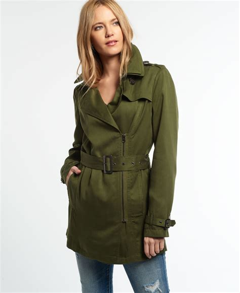 drape coat womens new womens superdry draped trench coat khaki ebay