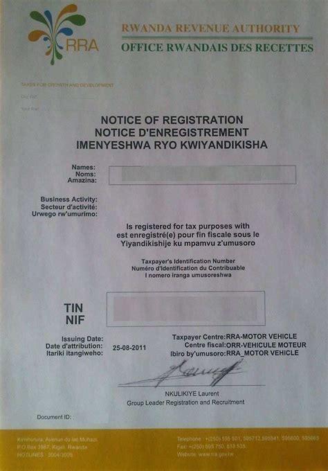 certification letter for tin number business procedures in rwanda