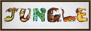 jungle theme name paintings personalized name