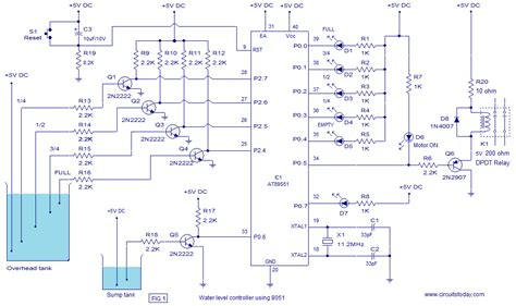 water tank level controller circuit diagram water level controller using 8051 microcontroller