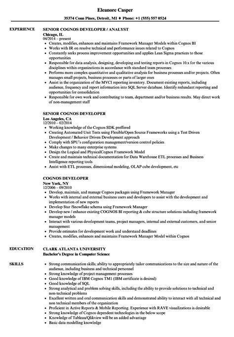 cognos developer sle resume cognos developer resume sles velvet