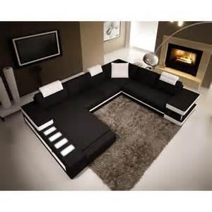 canap 233 d angle panoramique en cuir noir et blanc sinyo
