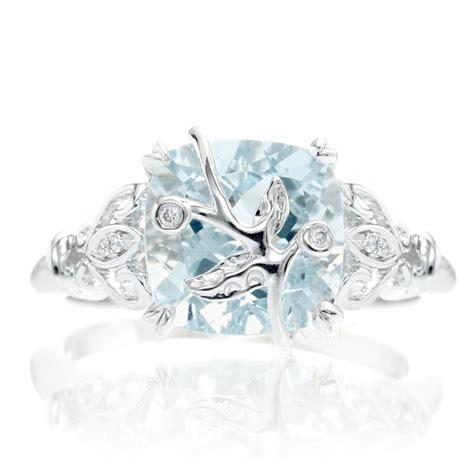 aquamarine leaf and vine design engagement ring