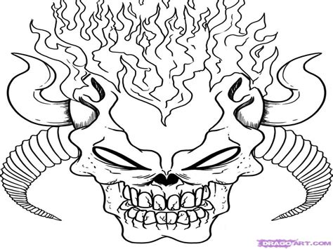 Dark Scary Coloring Pages How To Draw Demon Skulls Step By ... Html Color Codes Minecraft