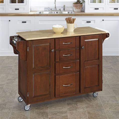 Kitchen Islands At Lowes Shop Home Styles Brown Scandinavian Kitchen Cart At Lowes