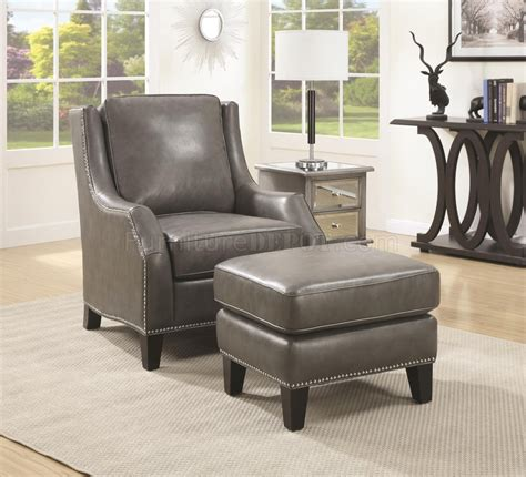 leather accent chairs with ottoman 902408 accent chair w ottoman in grey bonded leather by