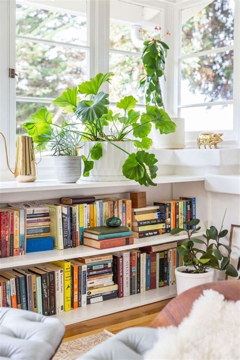 home decor living room books and plants in a white