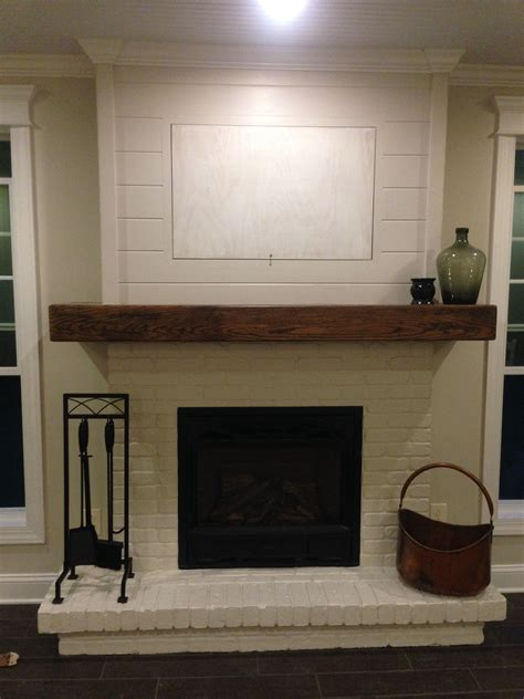 shiplap fireplace painted brick wood mantel and shiplap minus the hid a tv