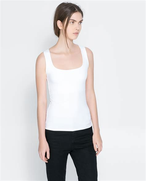 Zara Top zara tank top in white lyst