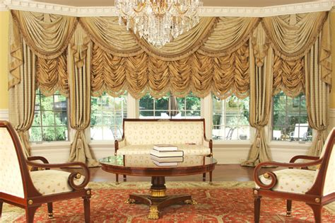 Custom Curtains And Drapes Decorating Custom And Luxury Drapery For Large Bay Window Traditional Living Room Chicago By Custom