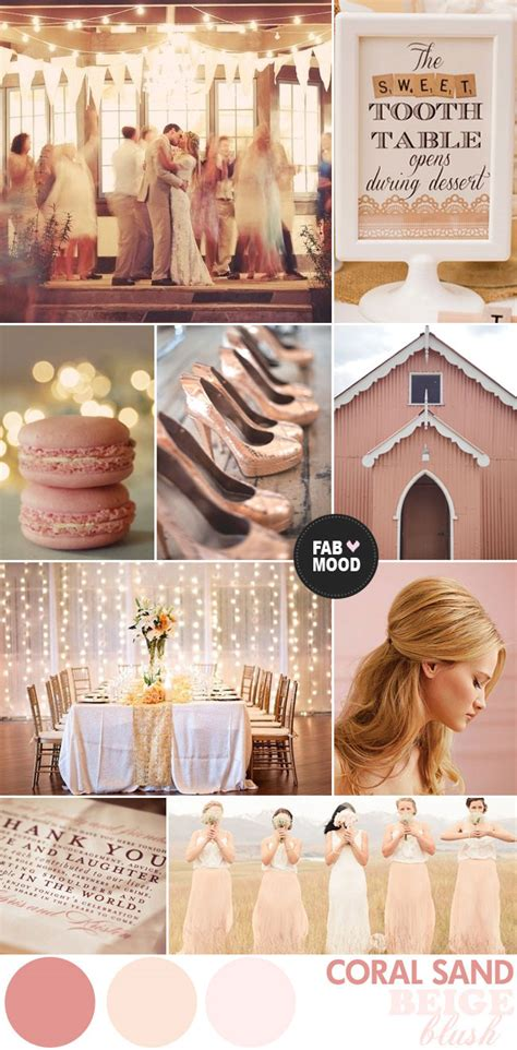 blush coral wedding colours palette beige