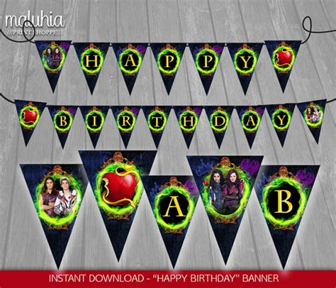 Printable Descendants Banner | disney descendants birthday party invitations and