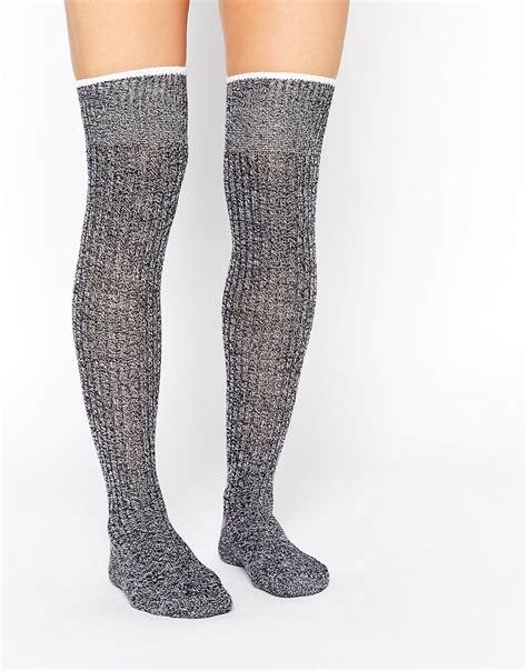 knee knit socks asos asos mix knit the knee tipped socks at asos