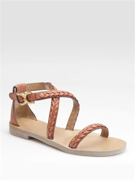 braided brown sandals chlo 233 braided leather flat sandals in brown lyst