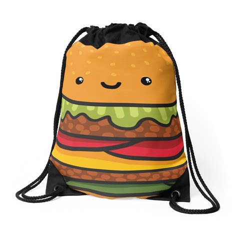 Burger Bag by Quot Burger Quot Drawstring Bags By Alekseeva Redbubble