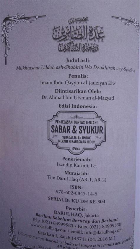 Kemegahan Dan Keindahan Surga Serta Para Penghuninya Buku Islam buku penjelasan tuntas tentang sabar dan syukur