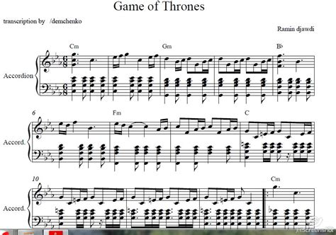 tutorial piano game of thrones buy game of thrones music for accordion accordion