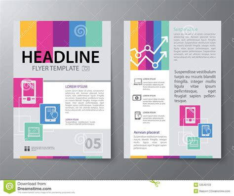 brochure flat design set of business magazine cover flyer brochure flat