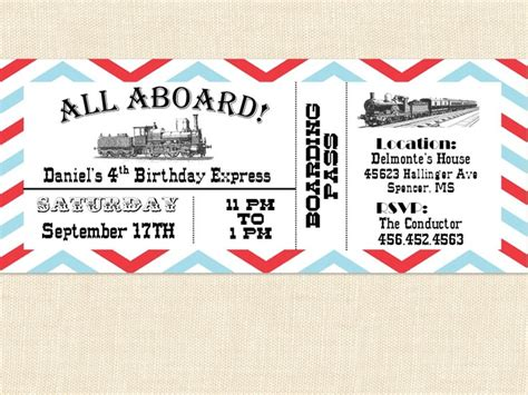 search results for train ticket birthday invitation