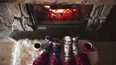 sock fireplace in woollen socks by the cozy fireplace 4k