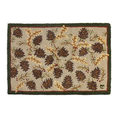 hooked wool rug northwoods cones hooked wool rug