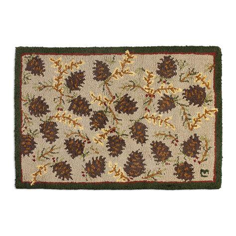 northwoods cones hooked wool rug