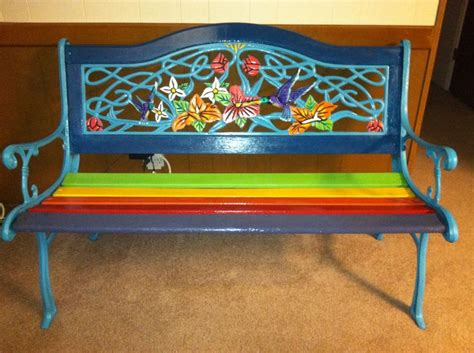 painted wooden garden bench hand painted rainbow cast iron bench i refurbished for