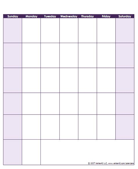 Calendar Template For Pages Blank Calendar Template Free Printable Blank Calendars