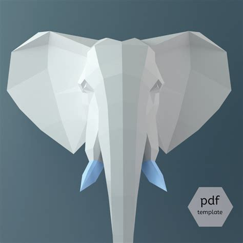 How To Make An Elephant Out Of Paper Mache - papercraft elephant 3d papercraft pdf 3d template wall