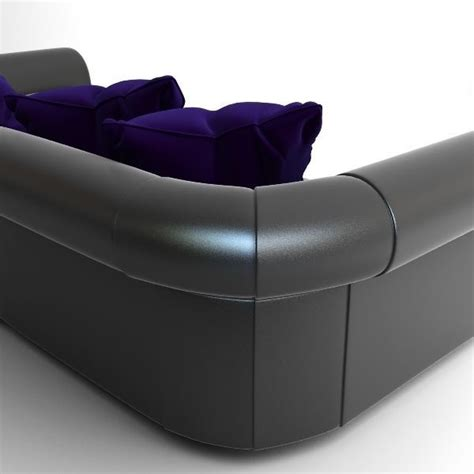 Black Sofa With Pillows 3d Model Max Obj 3ds Cgtrader Com
