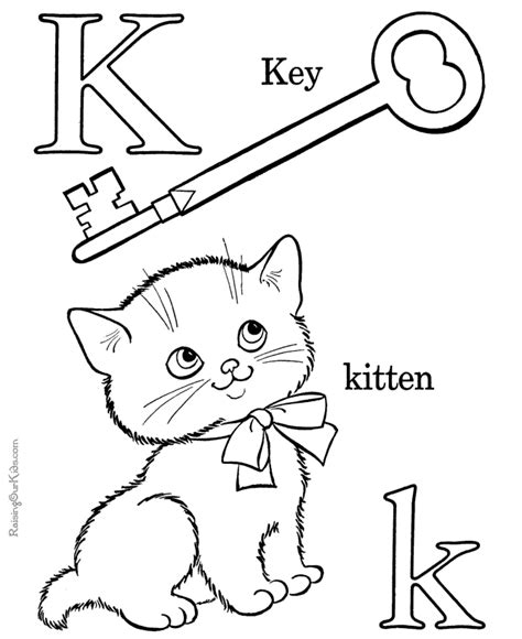 colors starting with k alphabet coloring book page letter k