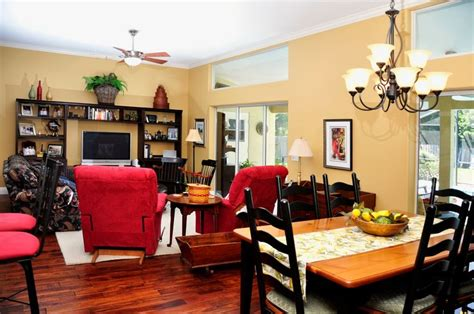 kitchen dining and living room combination busy cozy homey living room den dining kitchen combo area open layout accents warm
