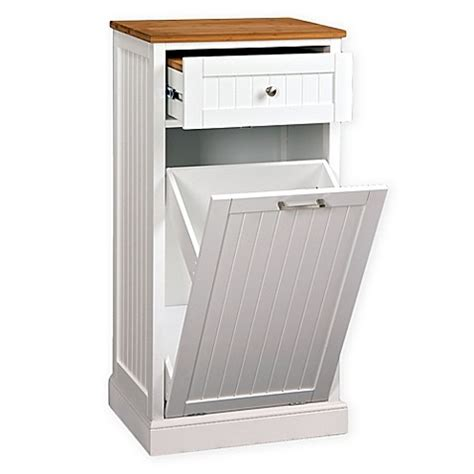 Kitchen Island With Garbage Bin Microwave Kitchen Cart With Hideaway Trash Can Holder In