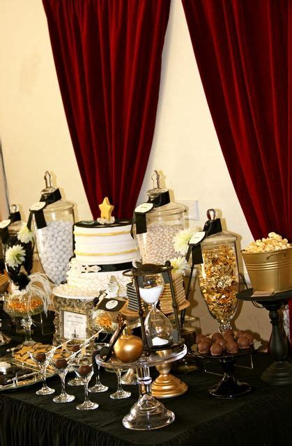 black and gold buffet ls old hollywood glam birthday party ideas inspiration