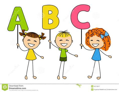 bambini clipart bambini svegli con le lettere di abc illustrazione