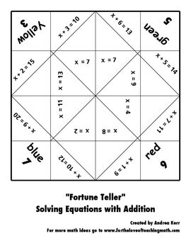 multiplication fortune teller template solving equations fortune teller packet by for the of