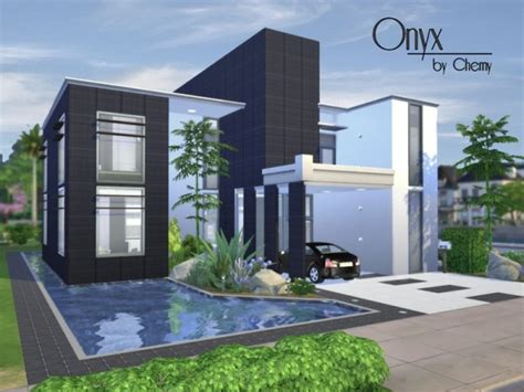 the sims 4 houses the sims resource onyx modern house by chemy sims 4 downloads