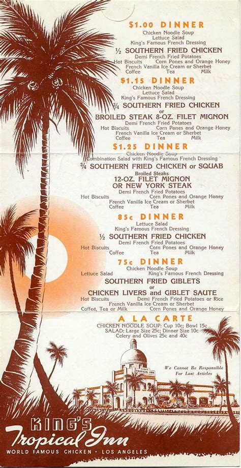 menu design los angeles king s tropical inn washington blvd at adams los angeles
